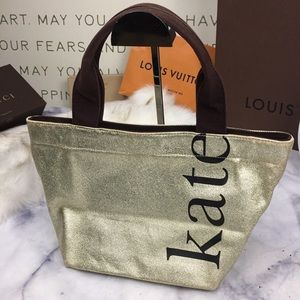 KATE SPADE gold canvas tote